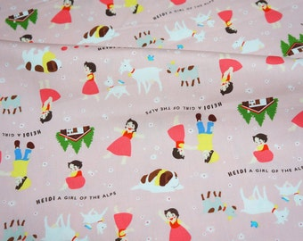 Heidi Girl of the Alps Print FAT QUARTER 50 cm 53 or 19.6 by 21 inches  nc55 ©zuiyo