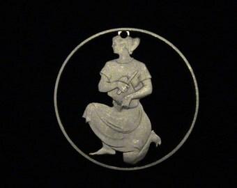 Hungary - cut coin pendant - Woman  1981