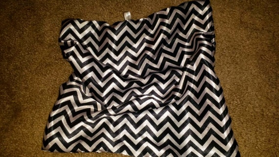 "Satin Comfort Blanket - Lovey for Babies and Small Children  - 13""x13  White & Black Chevron"