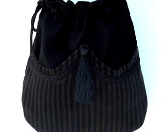 Brown and Black Stripe Velvet Bag  Black Velvet with Front Pocket Tassel Boho Crossbody Bag