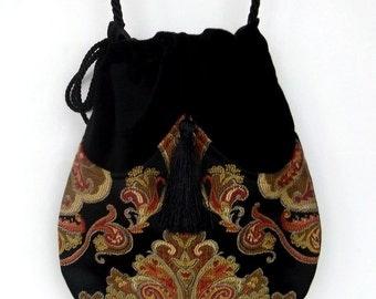 Gold and Black Jacquard Tapestry Pocket Bag  Black  Velvet Bag With Tassel  Renaissance Bag  Crossbody Velvet Purse