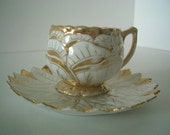 Vintage Gold and White Demitasse Teacup and Saucer