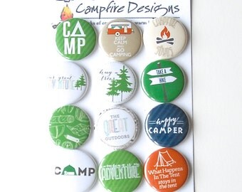 CAMPING Flair Buttons or Badges for scrapbooking-RV, tent  and camper theme
