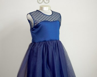 SALE, Flower Girl dress, Junior Bridesmaid, Navy Blue Satin Dress, Special occassion, Ready to ship