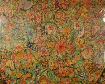 PHYCHEDELIC  POSTER Handpainted Jungle by Mora brilliant colors shrink wrapped 40X27 Inchesa