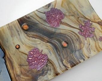Earth Tones, Copper Aspen Leaves, Gold, Brown, Cream Fused Glass Plate, Home Decor, Decorative Plate
