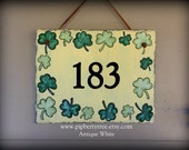 Hand Painted Decorative 7 x 9 Steet Address Slate Sign with Shamrock/Clover Border