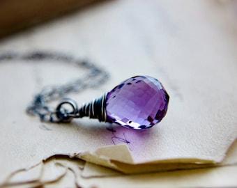 Amethyst Necklace, Amethyst Pendant, February Birthstone, Birthstone Necklace, Birthstone Jewelry, Purple, Sterling Silver, PoleStar