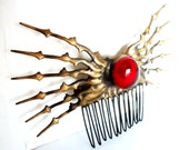 Distressed Gold tone steampunk Hair Comb Clock hand with red glass cabochon ornate hair Ornament perfect for date night or steampunk wedding