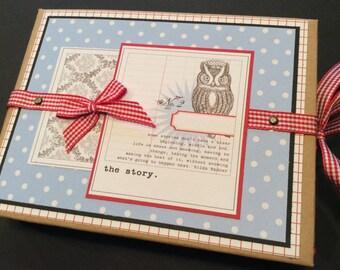 PREMIUM Paper Bag mini album journal, Paper Bag Album, Journal Album, Blue Scrapbook Album, Owl, Love, Chevron, Polka Dots, Poppies, Gift