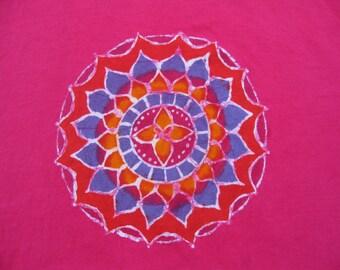 Original mandala design on fuchsia t-shirt, size adult LARGE