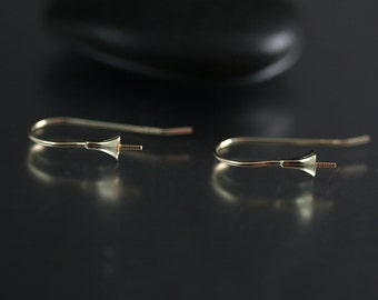 10k Solid Gold Earwire Pair with Pegs