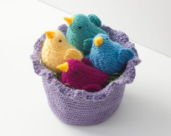 Easter Basket with Little Bird Toys, Ruffled Cotton Basket, Chose Colors,  Stuffed Animal, Waldorf Toy, Little Girl Gift