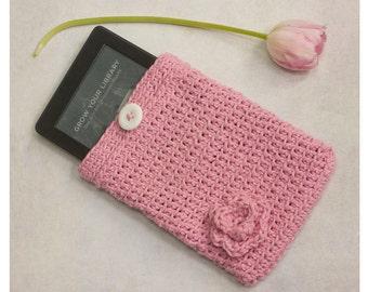 Cotton Kindle Case with Flower, Flower E-Reader Case, Custom Crochet Kindle Cover, Chose Color, Stocking Stuffer,