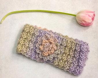 Spring Flower Headband, Head Band, Boho Chic Earwarmers,  Ear Warmers, Crochet Lace Head Wrap, Pink Purple Headband, Womens Gift