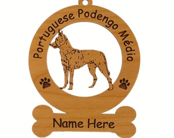 3752 Portuguese Podengo Medio Dog Standing Personalized Wood Ornament - Free Shipping