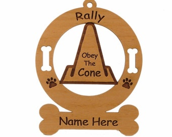 Rally - Obey The Cone Personalized Wood Dog Sport Ornament