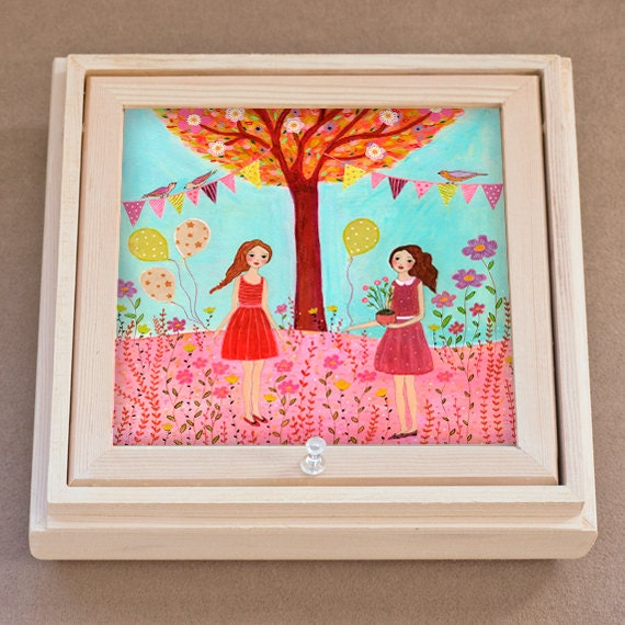 Large jewelry box with mirror birthday party girl by sascalia for Girls large jewelry box
