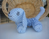 Yo Yo Puppy dog  k-9 fabric quilt nursery toy decor gingham toddler