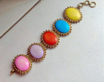 Victorian Antique Pinchbeck Frames Bracelet with Dyed Multicolored Bone Cabochons.