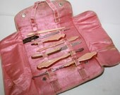 1920s Pink Pearl on Amber Lucite, Art Deco 7 pc. Travel Manicure set,Vanity,Boardwalk Empire Era, Real Leather folding case
