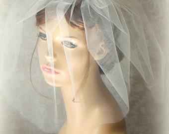 Wedding puffy veil, Bridal Blusher Bubble Veil 15 inch 2 Layer,Wedding birdcage veil, Blusher veil