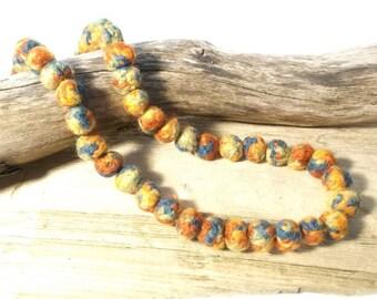 Multi colored  felt bead necklace