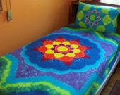 Twin Sized Tie Dye Sheets and a Tie Dye Pillowcase