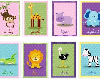 Girl Set of 8 Safari Zoo Jungle Animal Prints - 4x6,5x7, 8x10