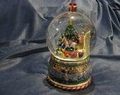 Winter Globe Animated Snow Scene Christmas Music Box Silver
