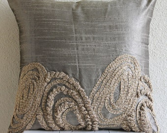 "Designer Silver Pillow Cases, 16""x16"" Silk Throw Pillows Cover, Square  Jute Swirls Pillows Cover - Silver Jute"