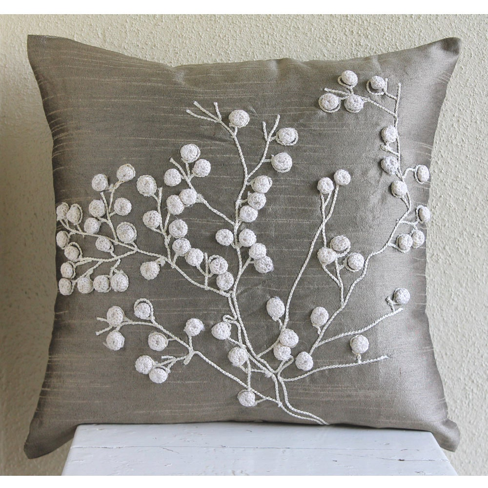 Luxury grey decorative pillows cover 16x16 silk for Luxury decorative throw pillows