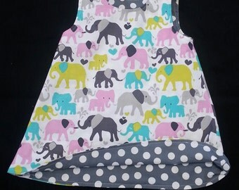 Girls Spring Dress -  Elephants - Girls 1st Birthday Dress - Reversible Dress - Shift Dress - Elephant Dress - Groovy Gurlz