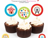 Kids Carnival Birthday Party - Printable 2 inch round Cupcake Toppers - Instant Download PDF File