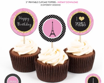 Glam Paris Birthday Party - Printable 2 inch round Cupcake Toppers - Instant Download PDF File