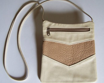 Leather Purse - Rectangular Cross Body Style - Cream Color Leather Handbag
