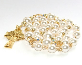Anglican Rosary Prayer Beads, White Swarovski® Pearls with Gold Celtic Cross, Wedding Rosary