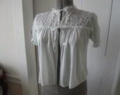 1960s Bed Jacket Pale Green Nylon Embroidered Chiffon Netting Ruffle