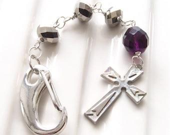 Cross Key Chain Silver Purse Charm Purple Bead