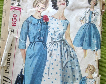1960 Vintage Sewing Pattern - Full Skirt DRESS and Cropped JACKET - Simplicity 3340 / Size 16
