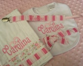 Carolina Personalized Burp Cloth Bib and Pacifier Clip - Choice of Name and/or  up to 3 initials