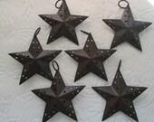 "Primitive Rusty Rustic Barn Star Ornament Craft Supplies 3 3/4"" Christmas Scrapbook Lot/Six"