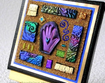 """Original Mixed-media Microbead Collage on 3"""" x 3"""" canvas, Bits n' Pieces style, in  purple, blue and green, with wooden easel for display"""