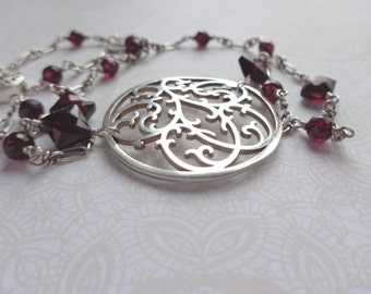 Victorian Inspired Vintage Silver Scrollwork Necklace, Wire Wrapped Garnet Necklace