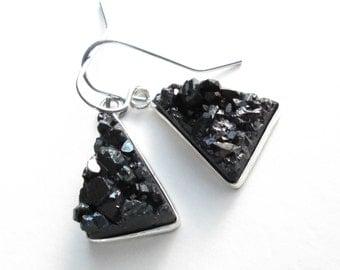 Black Druzy Earrings, Titanium Crystal Jewelry, Raw Stone Triangles