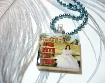 Gone With the Wind Scarlett O'Hara at Tara Scrabble Wood Tile Pendant Necklace - Blue or Red Chain