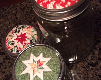 Set/3 Mason Jars Home Decor, Red/Green/Cream Fabrics, Puppy Theme, Beautifully Designed Lids, Decorative, Functional, Home or Office Use
