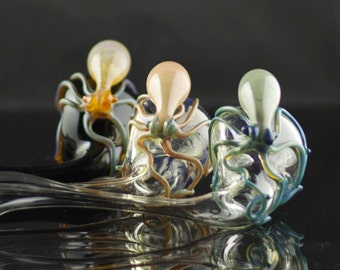 Octopus Large Glass Sherlock Pipe Hand Blown Thick Wall in YOU CHOOSE the COLOR, Made to Order