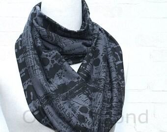 Gray-blue graffiti print  infinity scarf