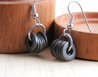 Drop Earrings Dangles Black Metal Hardware Jewelry Eco Friendly
